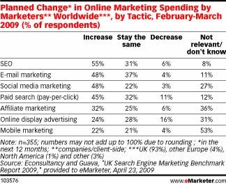 Planned Change in Online Marketing Spending by Marketers Worldwide, feb - march 2009
