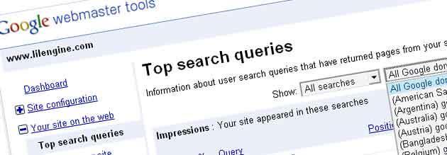 top search queries - Google webmaster tools