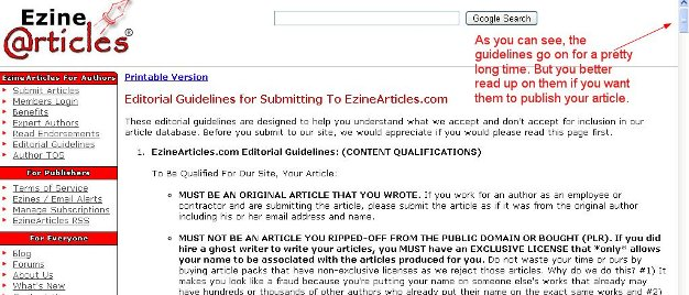 ezine guidelines