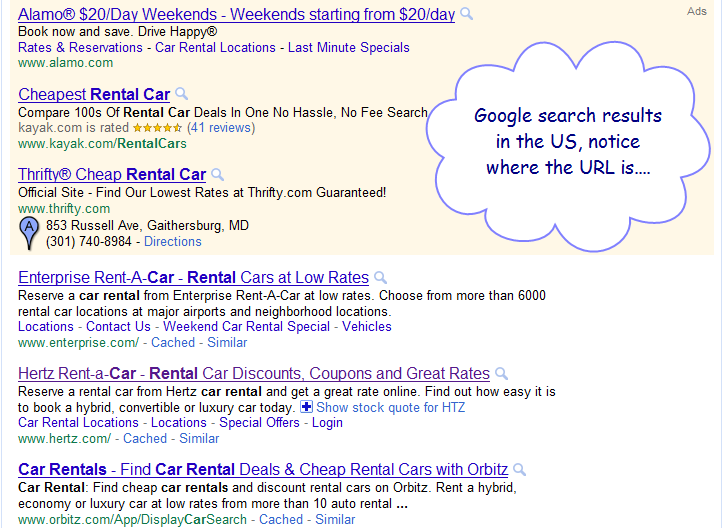 Google Moves URL Location in Search Old