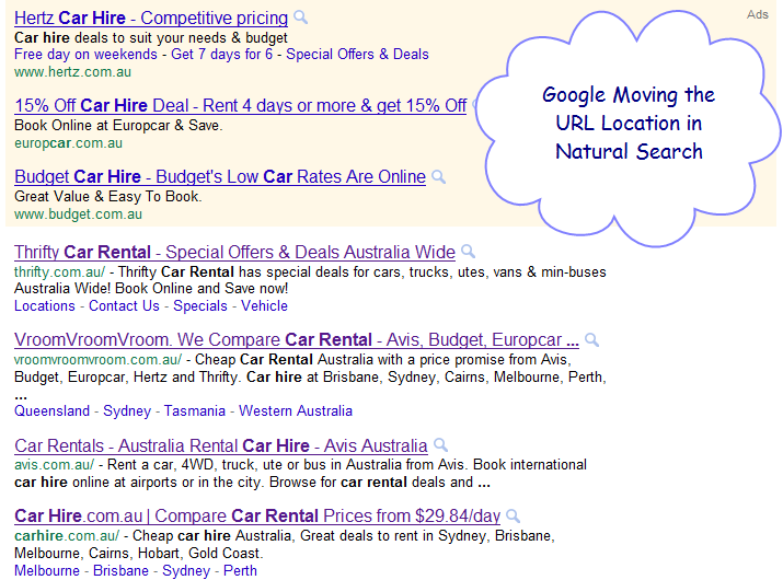 Google Moves URL Location in Search