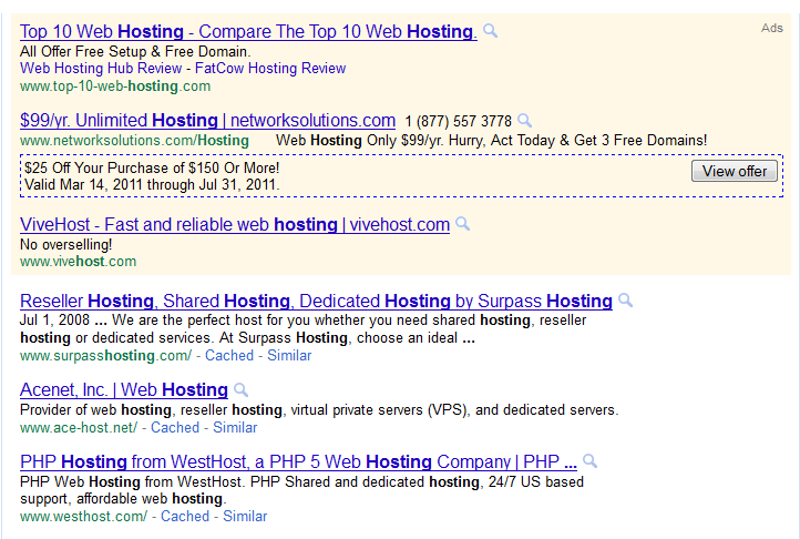 Google Adwords View offer Button