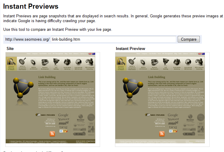 Google Webmaster Tools Instant Previews