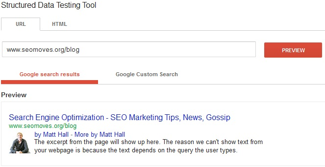 SEO Moves - Author Credit - Google Structured Data Testing Tool Example