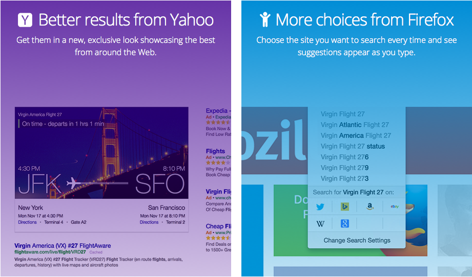 Better Results Yahoo - More Choices Firefox