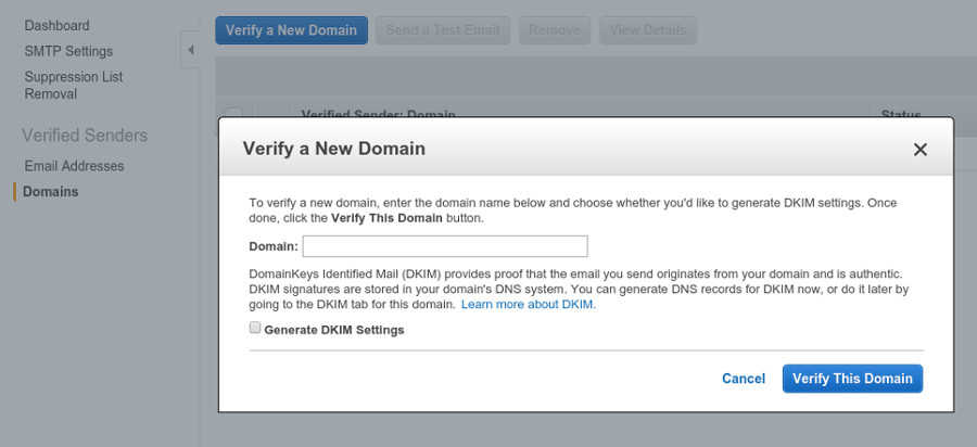 Verify all domains you want to send mail from.